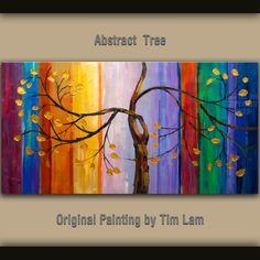 Acrylic painting Palette knife texture Copper leave landscape art by Tim Lam 48x24. $338.00, via Etsy.