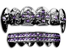 Hematite Gun Metal Fangs Grills Grillz Upper & Lower Set New (Purple Stones)