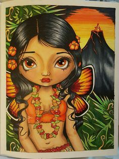 My version of the volcano Fairy. I used hot colors for her. From:Jasmine Becket-Griffith's Coloring book a fantasy art adventure Media: copic markers and prismacolor pencils with white gel pen Jasmine, Adult Coloring, Coloring Books, Gel Pen Art, Gothic Fairy, Gothic Anime, Devian Art, Traditional Japanese Tattoos, Chibi Girl
