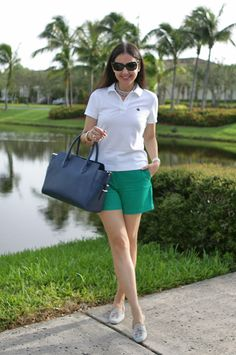 August 31, 2012 http://www.akeytothearmoire.com/post/30586685465/weekend-ready #shorts #Brooks Brothers #green #white #navy #blue #Burberry sunglasses #pink pearls #loafers #slippers #Alberta di Canio