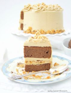 This delicious Butterfinger Cake Recipe dessert is made from scratch and features a moist chocolate cake with peanut butter frosting and butterfingers
