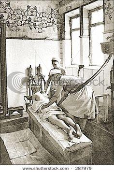 Woman having back massage / vintage illustration from Die Frau als ...