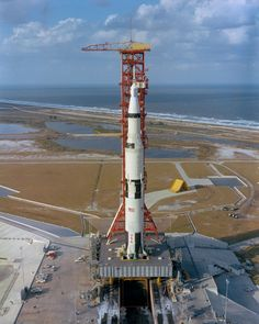 (8 Nov. 1967) --- High-angle view of Pad A, Launch Complex 39, Kennedy Space Center, showing the Apollo 4 (Spacecraft 017/Saturn 501) unmanned, Earth-orbital space mission being readied for launch. The huge 363-feet tall Apollo/Saturn V space vehicle was launch at 7:00:01 a.m. (EST), Nov. 9, 1967.