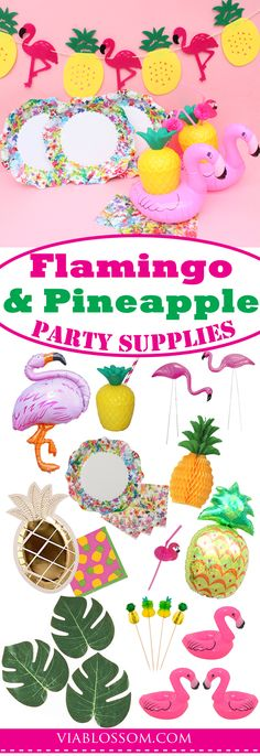 Fabulous Flamingo and Pineapples Party Supplies for a fun Tropical Party, Luau party or pool party! Summer is the best time for a Flamingo Birthday Party!