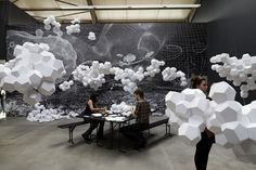 Tomas Saraceno's 2009 installation entitled 'Cloudy House' exhibited at Anderson's Contemporary Berlin Land Art, Paper Clouds, Colossal Art, Sculpture Art, Paper Sculptures, Les Oeuvres, New Art, Amazing Art, Paper Art