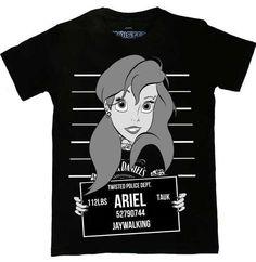 Twisted Ariel Little Mermaid Mugshot T-Shirt Tattoo Tank Alternative Emo Punk