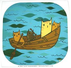 Cute meets nautical in this fun art print of kitty cats stranded at sea looking charmingly helpless in their rowboat. This signed art print is a reproduction of an original painting by Susie Ghahreman