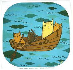 Cat Boat Art Print