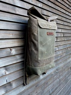 Waxed canvas rucksack / backpack with roll up top by treesizeverse, $169.00