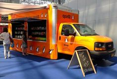 Penguin Group (USA) converted a GMC Savana cargo van into a rolling bookstore. The Penguin Book Pushcart rides inside the Book Truck and can make books available in parks or other areas where there isn't room for the big truck.