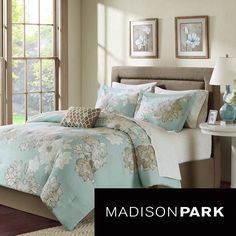 Add style to the bedroom with Brady's large scale floral print with a sea foam blue that adds a soft touch of color to the bedroom. This set includes a comforter along with a sheet set and several other components to adorn the bed.