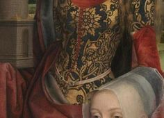 Memling Triptych of Willem Moreel, right wing, the founder Barbara van Vlaenderbergh, wife of Willem Moreel, the daughters and the St. Dress model with lacing and woven belt with double clasps at the front Medieval Belt, Medieval Wedding, Hans Memling, Lady In Waiting, Girdles, Woven Belt, 15th Century, Belts For Women, Fashion History