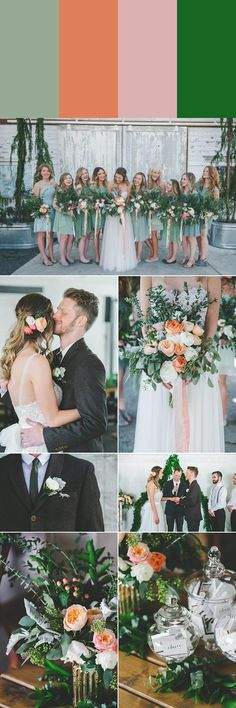 Sage + peach + pale pink + emerald are the perfect colors to personify your spring wedding | photos by Athena Grace, event planning by Erin Land, floral design by Grace and Blooms, wedding dress by BHLDN, groom's apparel by ASOS