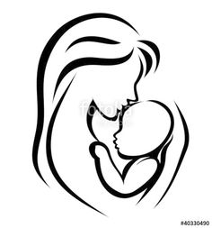 Vector: mother and baby symbol