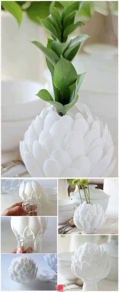 Diy Big Tissue Paper Flowers For Parties And Entertaining - Most Inspiring Pictures And Photos! Plastic Spoon Crafts, Plastic Spoons, Diy Crafts For Adults, Crafts For Seniors, Creative Crafts, Fun Crafts, Diy And Crafts, Tissue Paper Flowers, Plastic Design