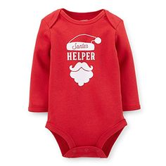 Carter's Unisex Baby Long-sleeve Christmas Bodysuit (Newborn, Red/Helper) >>> Review more details @