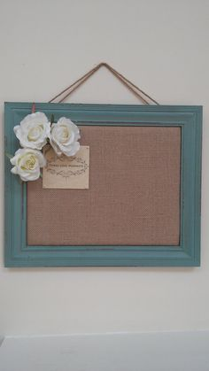 Message Board, Cork Board, Bulletin Board, Framed Cork Bulletin Board, Pin Board in Green Frame with Monogram and Roses