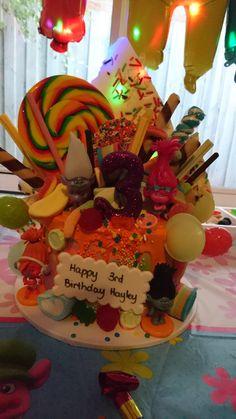 Trolls birthday cake colourful