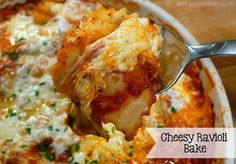 Cheesy Ravioli Bake 9-ounce package four-cheese ravioli (I buy Buitoni brand in the refrigerated section) 1 jar marinara sauce 4 ounces shredded mozzarella cheese 1/2 cup grated Parmesan cheese 1/4 cup shaved Parmesan cheese (optional) 4 ounces fresh mozzarella, torn into chunks Fresh basil or parsley, chopped (for garnish)