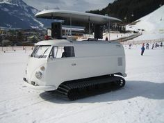 1966 VW Bus Bulli T1 converted into a snowmobile with automatic pop up DJ sound system
