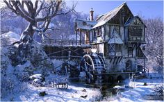 Watermill In Winter Mood by Lars Braad Andersen