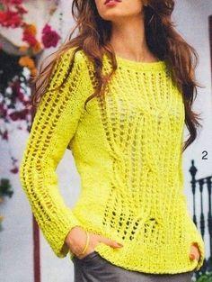 Blusa de linha em trico, sugestão usar Linha Anne ou similar A RECEITA ESTÁ EM 3 TAMANHOS :  38/40  - 42/44  - 46/48 ( AS CORES na rece...