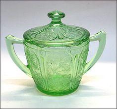 Cherry Blossom Green Depression Glass Sugar Bowl w/ Lid