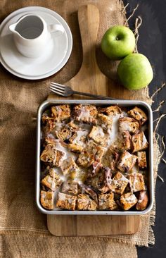 Overnight Apple Fritter French Toast Casserole--prep breakfast the night before with this easy recipe! Cut up some bread, add eggs another yummy goodness and let it sit overnight--bake in the morning and OMG!