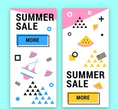 Memphis style sales banners in summer