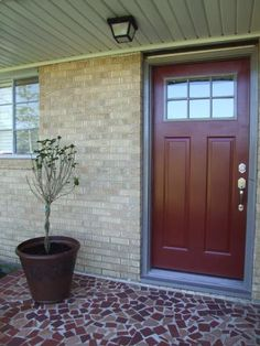 JELD WEN Craftsman 3 Lite Painted Steel Entry Door with Brickmould