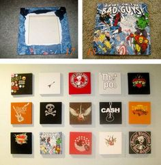 Put old shirts on a canvas for decor . Maybe put on something cheaper as a temporary solution while you are collecting t-shirts for a quilt. room decor diy wall canvases T-shirt Art Guest Tutorial T Shirt Art, Tshirt Canvas, T Shirt Frame, Tee Shirt, Diy Wall Art, Diy Art, Diy Canvas, Canvas Wall Art, T-shirt Kunst