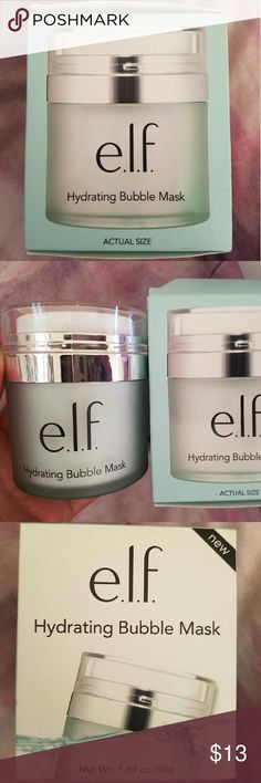 """ELF Hydrating Bubble Mask """"No Parabens, No Sulfates, No Phthalates""""  """" does hydrating and nursing jail transforms into a purple mask on the face. Watch as bubbles Fizz and foam to remove excess dirt and cleans pores for glowing healthy looking skin.""""  I used this once to test out and it didn't work well for my skin. ELF Makeup"""