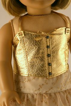"""Adorable American Girl 18"""" Doll outfit by Forever18inches. Love the gold pleather top."""