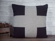 Love this one.  Black cross pillow made with cotton linen -black decorative throw pillow with plus sign -black cushion cover - gift