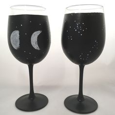 Moon and Stars Hand Painted 12 oz set of 2