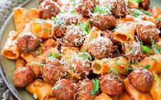 Rigatoni con Polpette and Arrabiata. Rigatoni con Polpette and Arrabiata Sauce - no doubt one of the best pasta dinners you can have. Casual yet sophisticated! Italian Christmas Dinner, Holiday Dinner, Winter Dinner Ideas, Christmas Dinner Recipes, Christmas Meal Ideas, Christmas Dinners, Winter Dinner Recipes, Recipes Dinner, Christmas Pasta