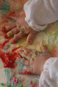 The Imagination Tree: Homemade Edible Finger Paint -- 4 all edible ingredients! Planning on doing this with Will soon. Blog author has a 6-month old painting - SO FUN!