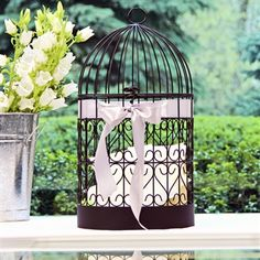 bird cage card holder with hearts on it