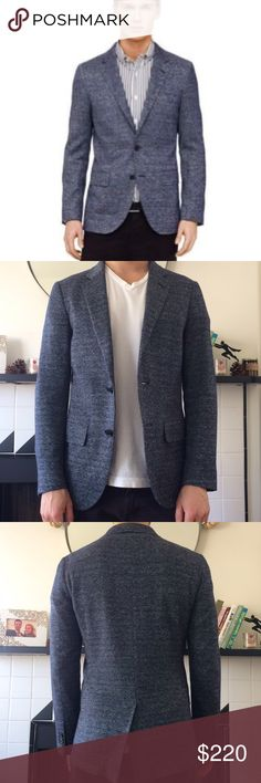 Club Monaco navy white Grant blazer! Club Monaco navy and white blended Men's blazer/suit jacket. Size 36. Poly linen cotton and nylon blend. Grant fit. Excellent condition. Great for travel because it doesn't wrinkle. Shoulder to shoulder is 16.5 in. Sleeve length is 25 in. Length is 28 in. Bundle and save! Club Monaco Jackets & Coats Lightweight & Shirt Jackets