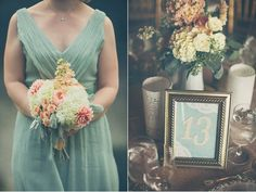 North Carolina Lovebird Wedding - great colors; picture frame table numbers