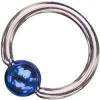 Surgical Steel Ball Closure Rings with Dark Blue Titanium Ball
