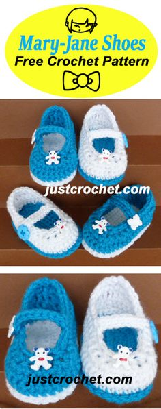 Cute Mary Jane Shoes, free baby crochet pattern to fit 3-6 months. #crochet