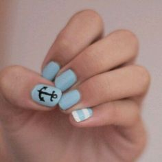 Adorable, nautical nail art!