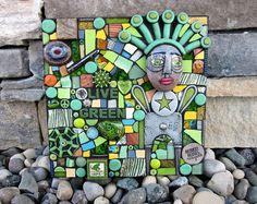 Live Green. Handmade Original Mixed Media Mosaic Assemblage