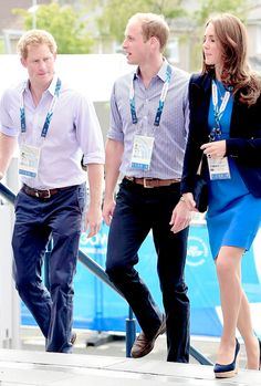 The Duke and Duchess of Cambridge and Prince Harry arrive at Hampden Park for day six of the Commonwealth Games in Glasgow. July 29th 2014