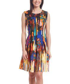 Another great find on #zulily! Orange & Black A-Line Dress #zulilyfinds