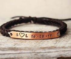 Anniversary Gift For Friend Personalized Braided Leather Bracelet Boyfriend Bracelets