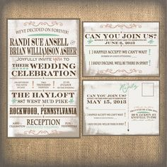 Rustic Wedding Invitation, Burlap Wedding Invitation, Playbill wedding invitation. $1.00, via Etsy.