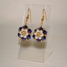 Full Bloom Right Angle Weave Earrings in Sapphire by ThoughtfulDog