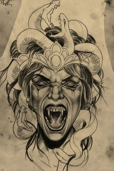 This image embodies the fear that Medusa was able to put into her adversaries in Ovid's Metamorphoses. It was believed that slaying her was impossible for a mortal, thus she was avoided at all costs by most. This image certainly shows her evil nature. Medusa Tattoo Design, Tattoo Design Drawings, Tattoo Sketches, Art Sketches, Art Drawings, Tattoo Designs, Weird Tattoos, Skull Tattoos, Body Art Tattoos